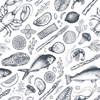 Seafood and fish seamless pattern. hand drawn vector illustration. Premium Vector