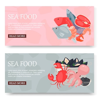 Seafood and fish set of banners