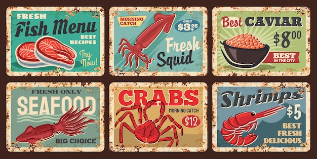 Seafood fish, shrimps and crabs rusty metal plate
