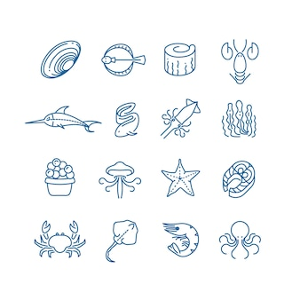 Seafood, fish thin line vector icons