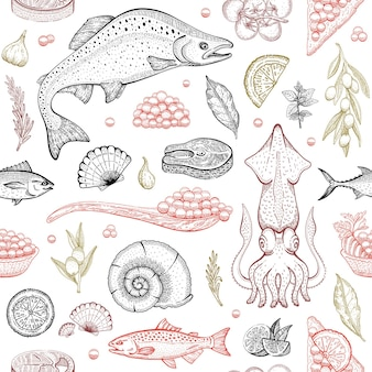 Seafood fish vector background
