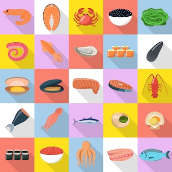 Seafood fresh fish food icons set. flat illustration of 25 seafood fresh fish food icons for web