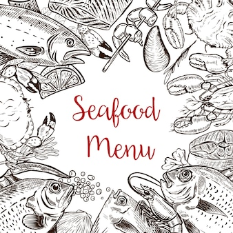 Seafood fresh menu template. fish, crab, shrimp, lobster, spices.  illustration
