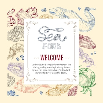 Invito disegnato a mano di frutti di mare