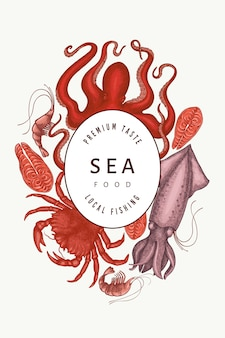 Seafood  . hand drawn seafood. engraved style food . retro sea animals background