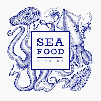 Seafood  . hand drawn  seafood illustration. engraved style food . retro sea animals background