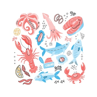 Seafood hand drawn simple color doodle with fish, crab, lobster, caviar, salmon steak and squid.