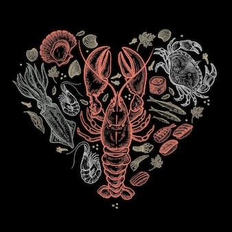 해산물 심장입니다. 벡터 일러스트 레이 션 아트 세트입니다. 칠판에 파스텔 색의 바다 동물을 손으로 그린다. 장식 메뉴, 포스터, 표지, 발렌타인 데이 광고. 빈티지 조각