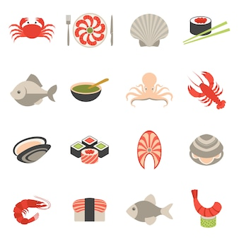 Seafood icons set flat