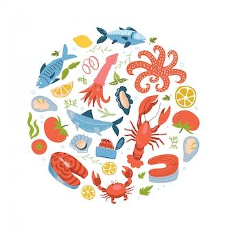 シーフードのアイコンはラウンド、サークルフラットスタイルに設定します。白い背景に分離された海のフードコレクション。魚製品、マリンミールのデザイン要素。フラット手描きイラスト。