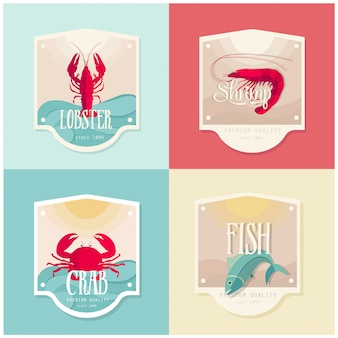 Seafood label design set