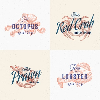 Seafood labels set. retro print effect cards.