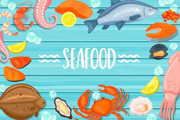 Букет из морепродуктов на синем деревянном фоне
