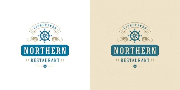 シーフードのロゴの魚市場とレストラン