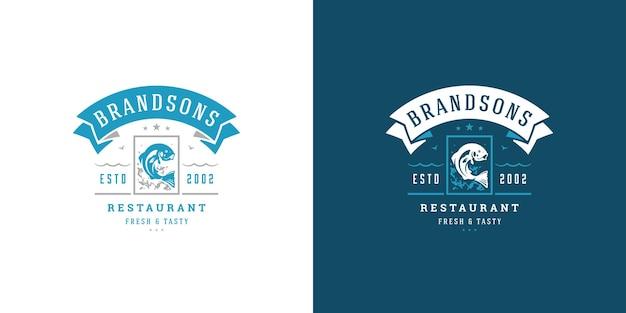 해산물 로고 또는 기호 생선 시장 및 레스토랑 엠블럼 템플릿
