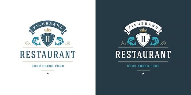 魚介類のロゴまたはサイン魚市場とレストランテンプレート魚