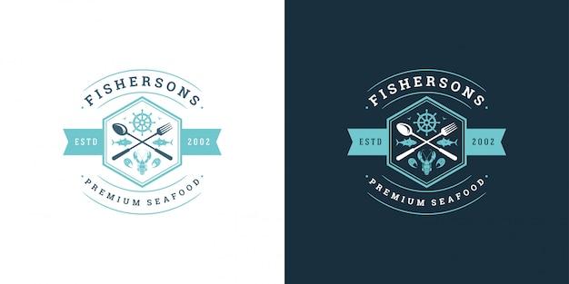 シーフードのロゴやサイン魚市場とレストランテンプレートロブスターシルエット