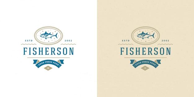 Логотип морепродуктов или знак рыбный рынок и ресторан шаблон силуэт тунца