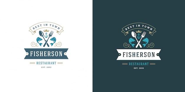 シーフードのロゴまたは記号ベクトルイラスト魚市場とレストランのエンブレムテンプレートデザイン魚