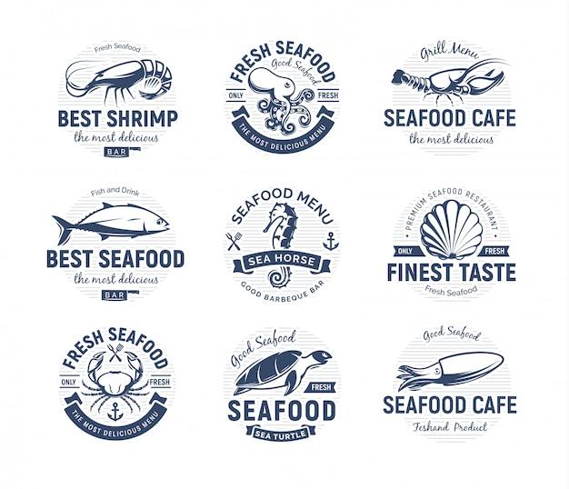 Морепродукты логотип набор. морские существа, эмблемы рыбалки или ресторана. шаблон логотипа в стиле ретро. Premium векторы
