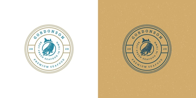 Seafood logo or sign fish market and restaurant emblem template