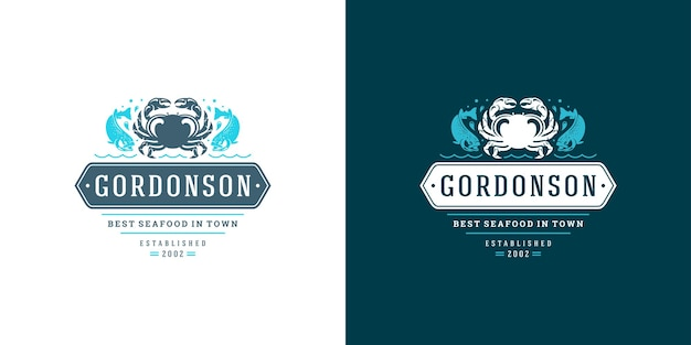 Seafood logo or sign fish market and restaurant emblem template