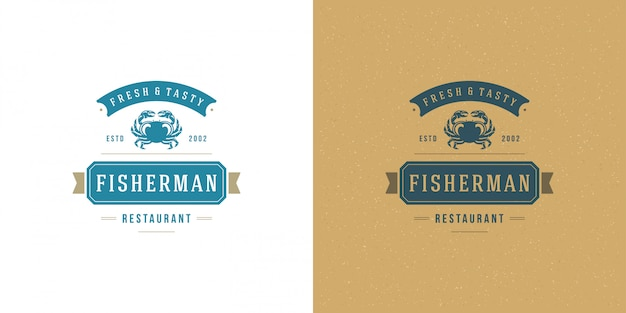 Seafood logo or sign   fish market and restaurant  template  crab silhouette