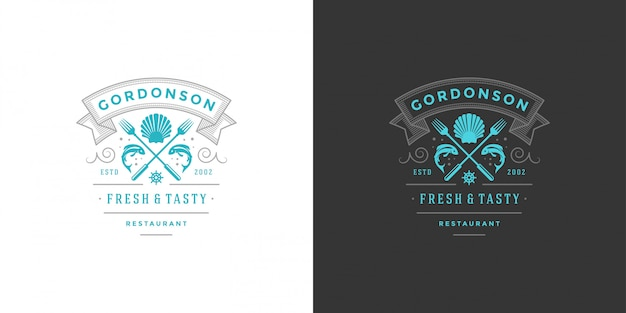 Seafood logo or sign   fish market and restaurant  template  fish silhouette