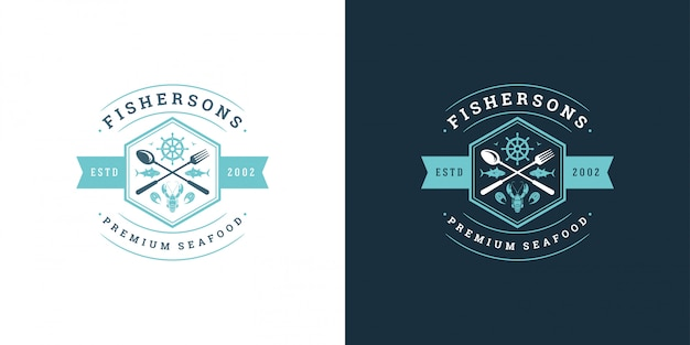 Seafood logo or sign   fish market and restaurant  template  lobster silhouette