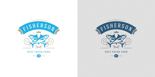 Seafood logo or sign   fish market and restaurant  template  tuna fish silhouette