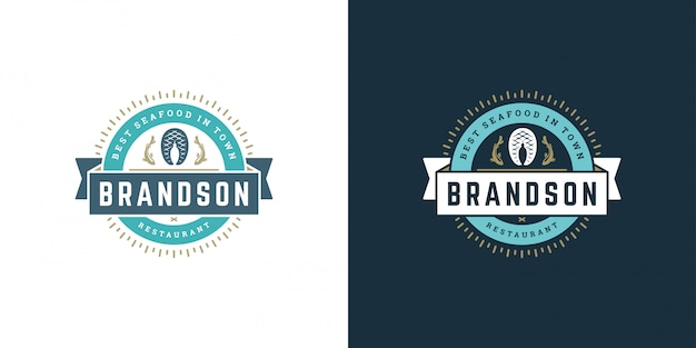 Seafood logo or sign vector illustration fish market and restaurant emblem template design fish fillet steak