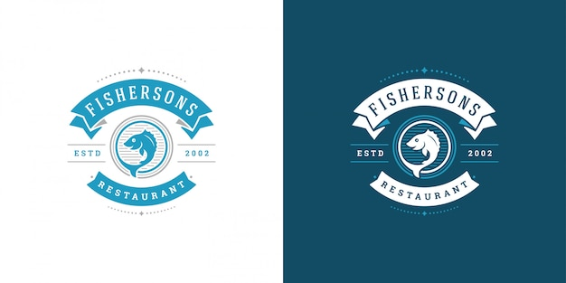 Seafood logo or sign vector illustration fish market and restaurant emblem template design fish with helm