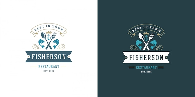 Seafood logo or sign vector illustration fish market and restaurant emblem template design fish