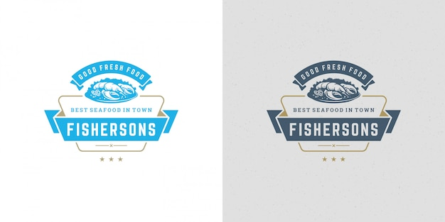 Seafood logo or sign vector illustration fish market and restaurant emblem template design lobster dish
