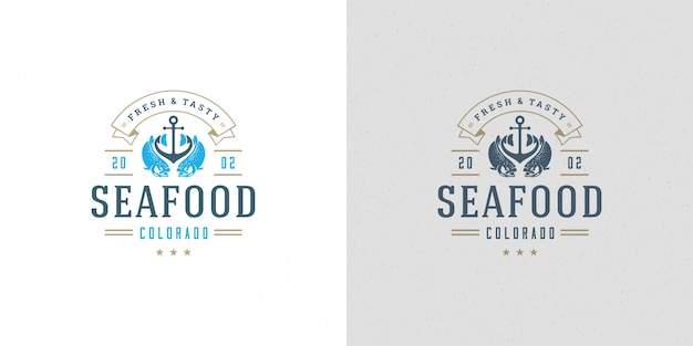 Seafood logo or sign vector illustration fish market and restaurant emblem template design salmon fish
