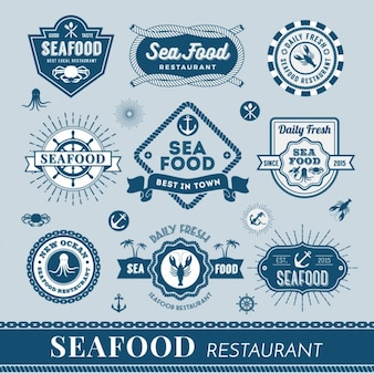 Seafood logos collection