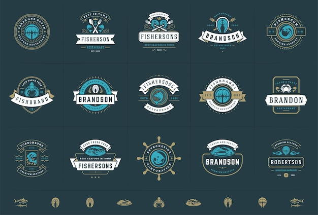 Seafood logos or signs set fish market and restaurant emblems