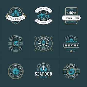 Seafood logos or signs set  fish market and restaurant