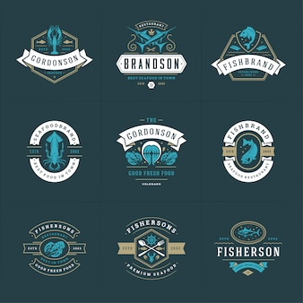 Seafood logos or signs set vector illustration fish market and restaurant emblems templates