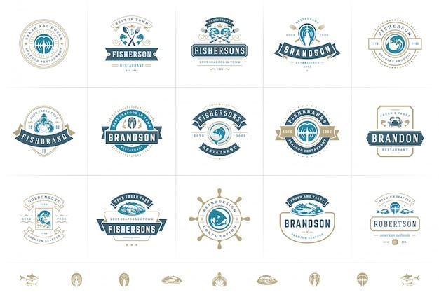 Seafood logos or signs set vector illustration fish market and restaurant emblems templates