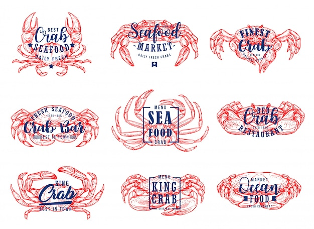 Seafood market, lobster restaurant lettering icons