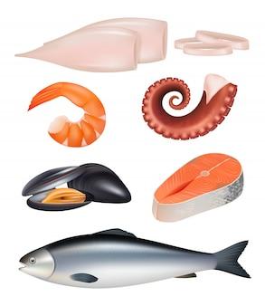 Морепродукты. еда рыбы осьминога натуральный белок диета еда 3d реалистичные иллюстрации