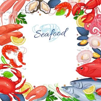 シーフードメニューのデザイン。魚料理ページテンプレート。シーフードムール貝、フィッシュサーモン、エビ、イカ、タコ、ホタテ、ロブスター、がらくた、軟体動物、カキ、マグロの漫画風。