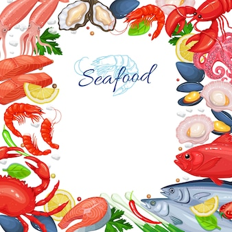 Seafood menu design. fish dish page template. of seafood product mussel, fish salmon, shrimp, squid, octopus, scallop, lobster, craps, mollusk, oyster and tuna in cartoon style.