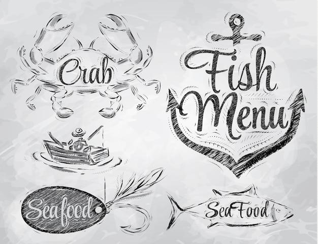 Seafood menu elements coal