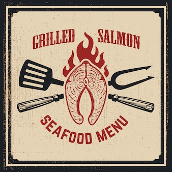 Seafood menu. grilled salmon with crossed fork and kitchen spatula on grunge background.  illustration