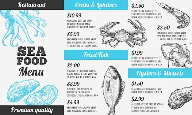 シーフードメニュー。手描きの海の新鮮な魚、グルメフードデザインレストランのパンフレット、メニューシーフード招待カードヴィンテージベクトルテンプレート。プレミアム品質のカニとロブスター、魚、カキ、ムール貝