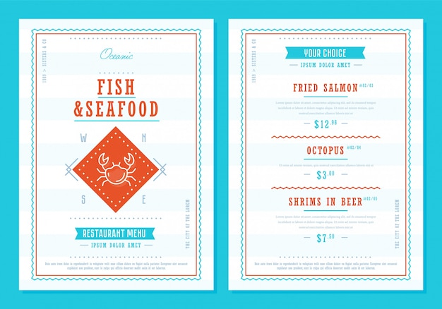 Seafood menu  template vectror