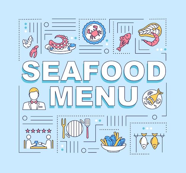 Баннер концепции слова меню морепродуктов