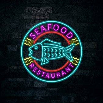 Seafood neon badge design